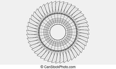 animation, concept, contour, roue, turbine