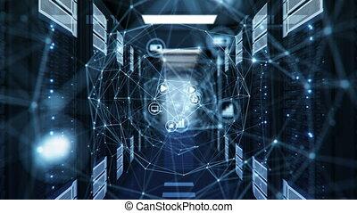 animation., connexions, technologie, 3840x2160., bleu, réseau, icônes, concept., loopable, numérique, filet, 3d, uhd, maille, grille, données, etagères, salle, links., centre, tunnel, serveur, 4k, hologramme, futuriste