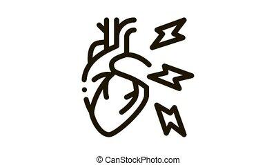 animation, couleur, maladie, icône, hypertension