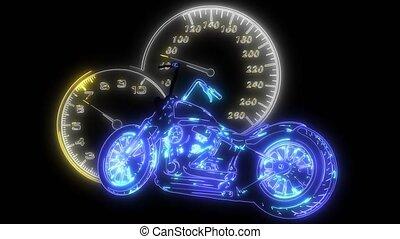animation, courses, laser, cavalier, vélo, moteur