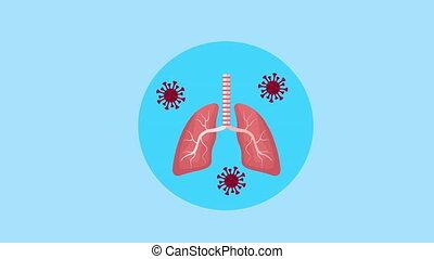 animation, covid19, poumons, particules