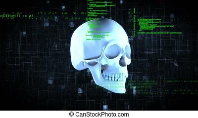 animation, crâne, tourner, numérique