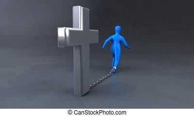 animation, -, croix, 3d
