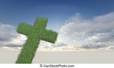 cross made from grass - animation-cross made from grass