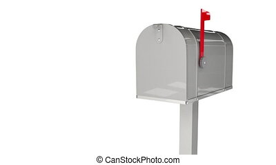 Animation delivery mail concept with retro email box and send envelope messages