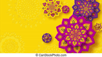 animation., diwali, jaune, couleur, arrière-plan., festival...