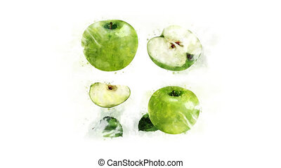 Animation drawing Green apple - Animated Green apple on a...