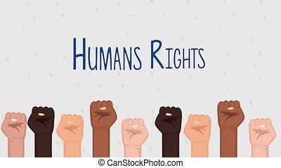 animation, droits, mains, diversité, humain