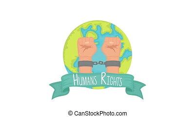 animation, droits, mains, handcuffed, humain