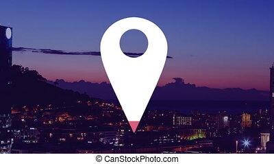 animation, emplacement, ville, fond, icône