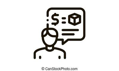 animation, employé, pawnshop, icône, représentant
