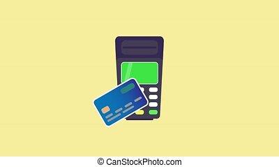 animation, en mouvement, payant, il, carte, réussi, contactless, tenue, plat, design., pos, là, terminal, jusqu'à ce que, card., payment., fin