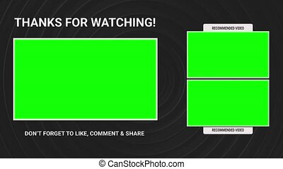 Animation end title no text with three templates for video on a original geometric background. Thanks for watching and reminder for likes, comments and share. Green screen chroma key