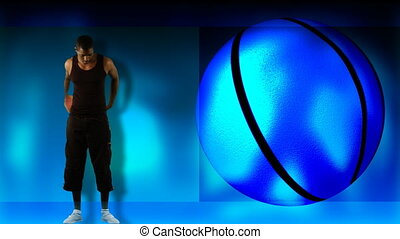 animation, ethnique, garçon, basketball jouant