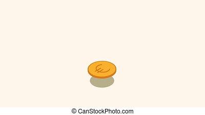 euro flat isometric money coin motion background - animation...