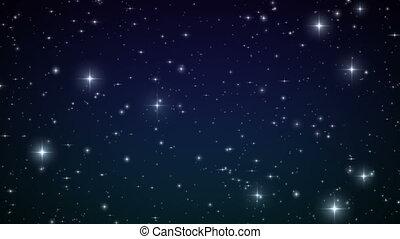 animation., fait boucle, étoiles, sky.