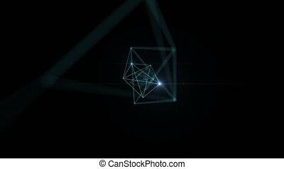 animation., fait boucle, espace, dof, résumé, lignes, connecté, lumières, blur., noeuds, par, hd, ultra, en mouvement, clignotant, 4k, technologie, concept., 3840x2160., 3d