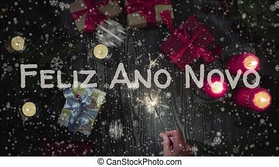 Animation Feliz Ano Novo - Happy New Year in portuguese,...