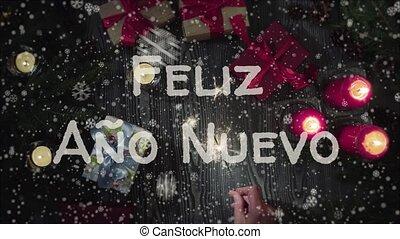 Animation Feliz Ano Nuevo - Happy New Year in spanish,...