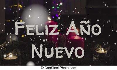 Animation Feliz Ano Nuevo - Happy New Year in spanish, white...
