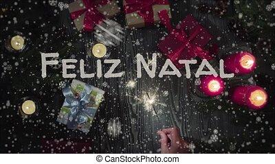 Animation Feliz Natal - Merry Christmas in portuguese,...