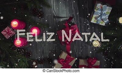 Animation Feliz Natal - Merry Christmas in portuguese, white...