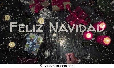 Animation Feliz Navidad - Merry Christmas in spanish, female...