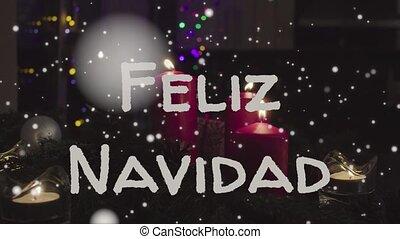 Animation Feliz navidad - Merry Christmas in spanish, white...