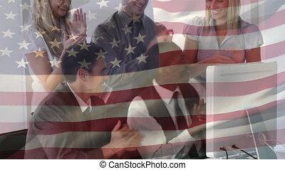 animation, femmes affaires, éthique, sur, drapeau, multi, onduler, américain, hommes affaires