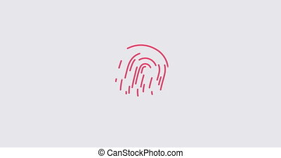 Animation finger print scanning identification biometric system. Concept of business security code
