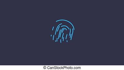 Animation finger print scanning identification biometric...