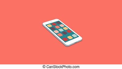 flat smartphone with app icons set motion background