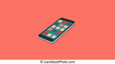 flat smartphone with app icons set motion background -...