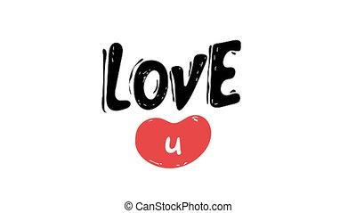 """animation, flirter, salutation, modèle, fond, blanc, confession., vous, coeur, 4k., jour, amour, """"i, isolé, carte, u."""", heart., résumé, valentine, concept, arrière-plan."""