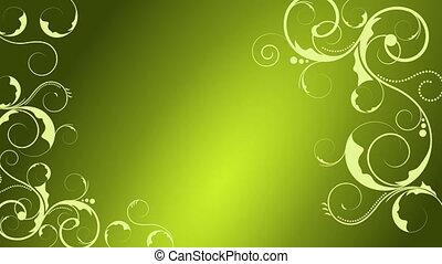 animation, floral, vert, beau