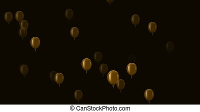 flying golden balloons on a dark background