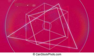 animation, formes géométriques, arrière-plan rouge