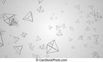 animation, géométrie, boucle, résumé, formes, polygone, aléatoire, forme, poly, 3d, 4k, arrière-plan.