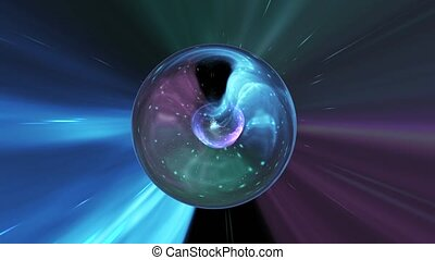 Animation galaxy ball abstract background. Blue and violet...