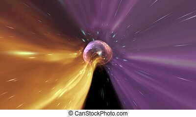 Animation galaxy ball abstract background. Yellow and violet...