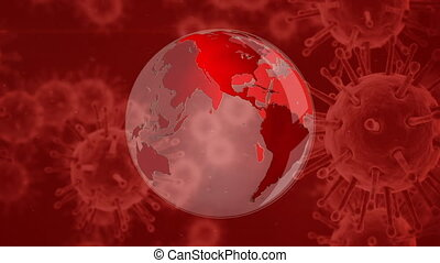 animation, globe mondial, virus, couronne, arrière-plan rouge