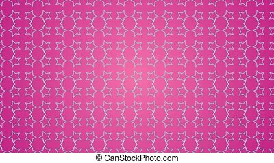 Animation gradient background with enlarge rotating stars and moving lines. Pink and light blue