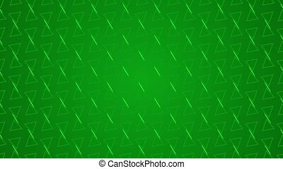 Animation gradient background with enlarge rotating triangle and moving lines. Green and light green