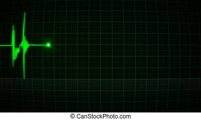 Animation green heart monitor of a man in love