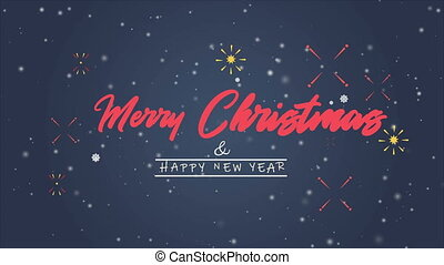 Animation greeting background merry christmas and happy new...