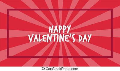 Animation greeting Happy Valentine day with twirl background...