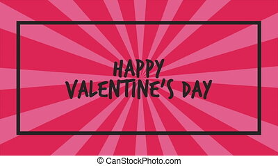 Animation greeting Happy Valentine day with twirl background