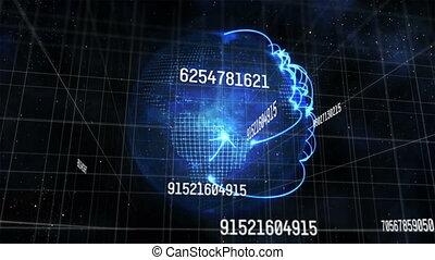 animation, grille, changer, contre, nombres, traitement, globe, données