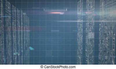 animation, grille, serveurs, contre, informatique, traitement, données