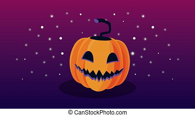 animation, halloween, heureux, citrouille